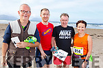 James Tobin (Bantry, Co Cork), Ross Gallagher and Donnie Sullivan from Castleisland and Susan Foley from Killorglin ready for the Inch Half Marathon on Inch Beach on Sunday morning..