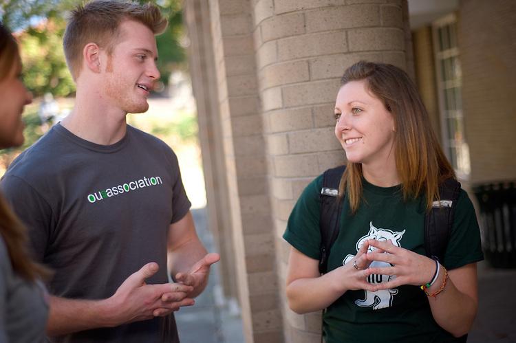 Campus shots: Amy Swearingen,Ryan Dease and Hannah Tangi (green)