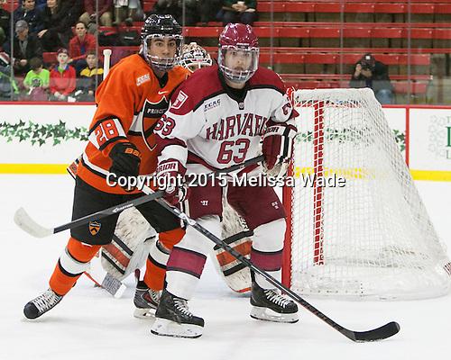 Aaron Ave (Princeton - 28), Colin Blackwell (Harvard - 63) - The Harvard University Crimson defeated the visiting Princeton University Tigers 5-0 on Harvard's senior night on Saturday, February 28, 2015, at Bright-Landry Hockey Center in Boston, Massachusetts.