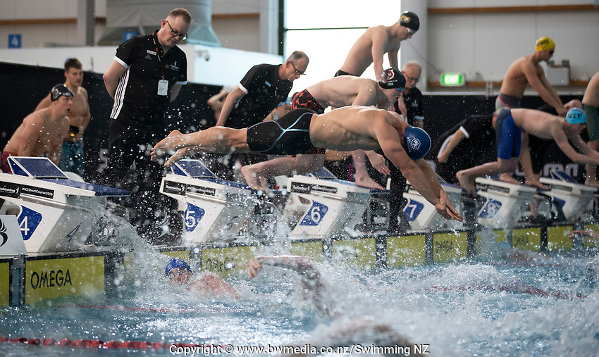 Final of the Men 200SC meter Freestyle Relay, at the New Zealand Short Course Swimming Championships, National Aquatic Centre, Auckland, New Zealand, Friday 4th October 2019. Photo: Brett Phibbs/www.bwmedia.co.nz/SwimmingNZ