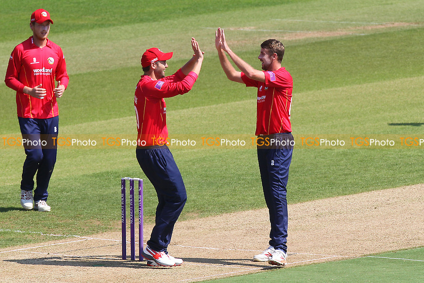 Matt Quinn of Essex (R) is congratulated by Nick Browne on taking the wicket of Jimmy Adams during Hampshire vs Essex Eagles, Royal London One-Day Cup Cricket at the Ageas Bowl on 5th June 2016