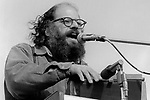 "Allen Ginsberg, April 15, 1970; 2-7-17. War Moritorium, SF Civic Center. American poet who vigorously opposed militarism, materialism and sexual repression. In the 1950s, Ginsberg was a leading figure of the Beat Generation, an anarchic group of young men and women who combined poetry, song, sex, wine and illicit drugs with passionate political ideas that championed personal freedoms. Major literary works of the Beat Generation include the novels ""On The Road"" by Jack Kerouac and ""Naked Lunch"" by William S. Burroughs, as well as Ginsberg's epic poem ""Howl"", in which he celebrates his fellow ""angelheaded hipsters"" and excoriates what he saw as the destructive forces of capitalism and conformity in the United States."