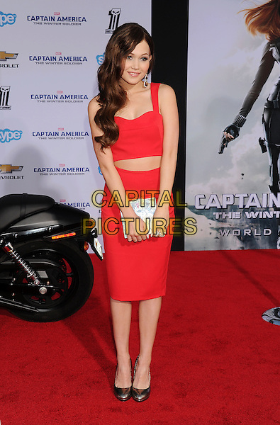 HOLLYWOOD, CA- MARCH 13: Actress Kelli Berglund arrives at the Los Angeles premiere of 'Captain America: The Winter Soldier' at the El Capitan Theatre on March 13, 2014 in Hollywood, California.<br /> CAP/ROT/TM<br /> &copy;Tony Michaels/Roth Stock/Capital Pictures