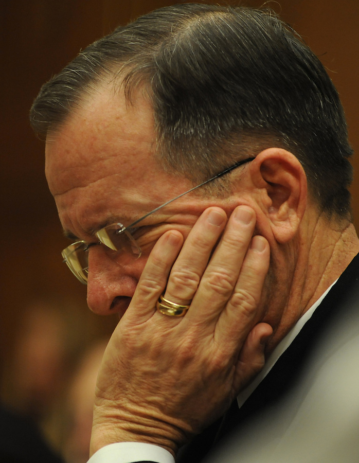 Washington, D.C.- Adm. Mike Mullen, chairman of the Joint Chiefs of Staff, testifies before the House Armed Services Committee about President Obama's proposed fiscal 2011 budget on Feb. 3, 2009. (Amanda Lucidon) .