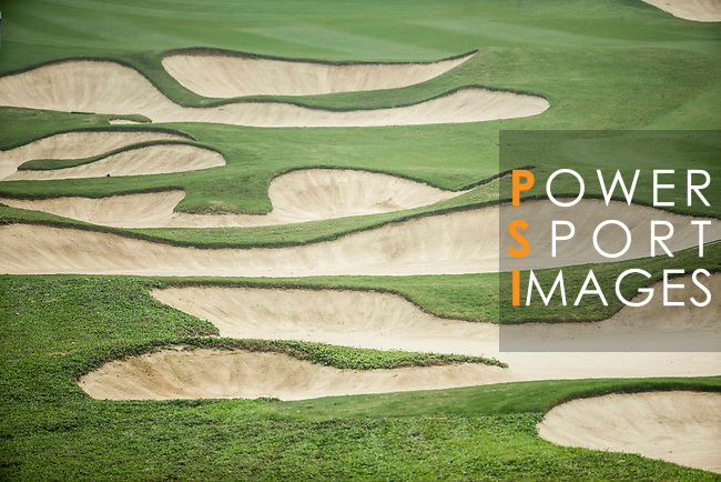 Bunkers at the 10th hole during Round 4 of the World Ladies Championship 2016 on 13 March 2016 at Mission Hills Olazabal Golf Course in Dongguan, China. Photo by Victor Fraile / Power Sport Images