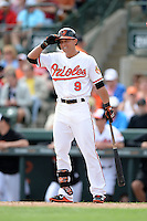 Baltimore Orioles outfielder David Lough (9) during a spring training game against the Philadelphia Phillies on March 7, 2014 at Ed Smith Stadium in Sarasota, Florida.  Baltimore defeated Philadelphia 15-4.  (Mike Janes/Four Seam Images)