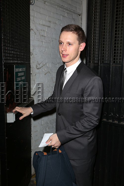 Samuel Barnett greets fans at the stage door after the Broadway Opening Night Performance of 'Twelfth Night' at the Belasco Theatre on November 10, 2013 in New York City.