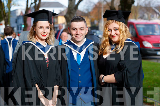 Cliona Lawton (Boherbue Cork) and Stephen Roche, (Tralee), who both graduated in Creative Writing for Digital Media with Cassandra Stack Tralee who graduated in Honours Accounting from IT Tralee, at the Brandon Conference Centre, Tralee, on Friday last.