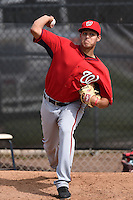 GCL Nationals pitcher Luis Torres (63) throws a bullpen before a game against the GCL Marlins on June 28, 2014 at the Carl Barger Training Complex in Viera, Florida.  GCL Nationals defeated the GCL Marlins 5-0.  (Mike Janes/Four Seam Images)
