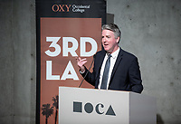 "Occidental College's 3rd LA (Re)Designing LA series continues in the Ahmanson Auditorium at The Museum of Contemporary Art (MOCA) on March 27, 2019. Hosted by Oxy Professor of Practice and Chief Design Officer for the City of Los Angeles Christopher Hawthorne, guest speakers and panelists discussed ""Strange Beauty: Making Sense of L.A. Architecture from the 1980s and 1990s.""<br /> 3rd LA is co-sponsored by Occidental, the Mayor's Office and the Los Angeles Department of Cultural Affairs.<br /> (Photo by Marc Campos, Occidental College Photographer)"