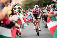 Thomas de Gendt (BEL/Lotto-Soudal) up the brutal (last climb) Alto de Arraiz (up to 25% gradients!), 7km from the finish <br /> <br /> Stage 12: Circuito de Navarra to Bilbao (171km)<br /> La Vuelta 2019<br /> <br /> ©kramon