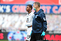Rhian Brewster of Swansea City leaves the field injured during the Sky Bet Championship match between Swansea City and Sheffield Wednesday at the Liberty Stadium in Swansea, Wales, UK. Sunday 05 July 2020
