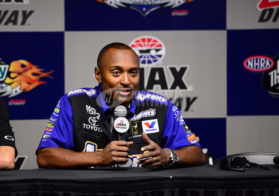 Sept. 14, 2012; Concord, NC, USA: NHRA top fuel dragster driver Antron Brown during qualifying for the O'Reilly Auto Parts Nationals at zMax Dragway. Mandatory Credit: Mark J. Rebilas-