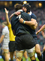 Twickenham, GREAT BRITAIN,   No. 7 Oxfords' James HARRIS, congratulated after scoring Oxford's second try during the 2012 Varsity Rugby match.  Oxford vs Cambridge, at the RFU Stadium, Twickenham, Surrey. on Thursday  06/12/2012...[Mandatory Credit; Peter Spurrier/Intersport-images]