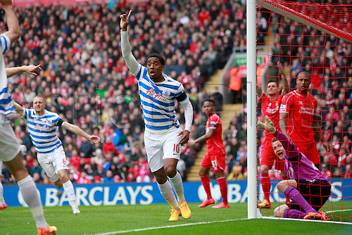 02.05.2015.  Liverpool, England. Barclays Premier League. Liverpool versus Queens Park Rangers. QPR's Leroy Fer celebrates but his goal in the opening minutes was disallowed.