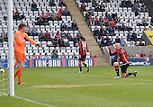 07/05/2016 Sky Bet League Two Morecambe v York City<br /> Kevin Ellison snaps York goalkeeper Michael Ingham