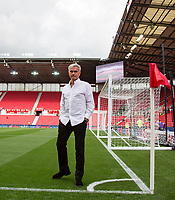 Man Utd Manager Jose Mourinho checks the pitch ahead of the Premier League match between Stoke City and Manchester United at the Britannia Stadium, Stoke-on-Trent, England on 9 September 2017. Photo by Andy Rowland.