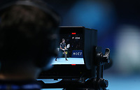 The cameraman films Novak Djokovic of Serbia during his round robin match against Marin Cilic of Croatia <br /> <br /> Photographer Rob Newell/CameraSport<br /> <br /> International Tennis - Nitto ATP World Tour Finals Day 6 - O2 Arena - London - Friday 16th November 2018<br /> <br /> World Copyright &copy; 2018 CameraSport. All rights reserved. 43 Linden Ave. Countesthorpe. Leicester. England. LE8 5PG - Tel: +44 (0) 116 277 4147 - admin@camerasport.com - www.camerasport.com