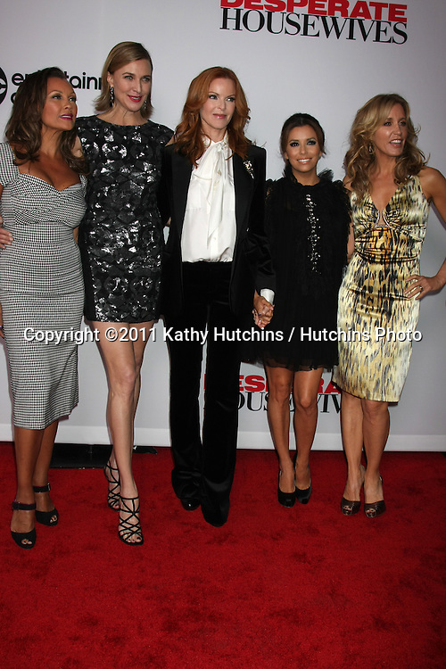 """LOS ANGELES - SEPT 21:  Vanessa L. Williams Brenda Strong, Marcia Cross, Eva Longoria, Felicity Huffman arriving at the """"Desperate Housewives"""" Final Season Kick-Off Party at Wisteria Lane, Universal Studios on September 21, 2011 in Los Angeles, CA"""