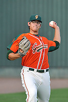 Starting pitcher Justin Jacome (55) of the Greensboro Grasshoppers warms up before a game against the Greenville Drive on Thursday, July 14, 2016, at Fluor Field at the West End in Greenville, South Carolina. (Tom Priddy/Four Seam Images)