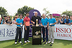 Gary McAllister (centre) at the 1st hole at the World Celebrity Pro-Am 2016 Mission Hills China Golf Tournament on 21 October 2016, in Haikou, China. Photo by Weixiang Lim / Power Sport Images