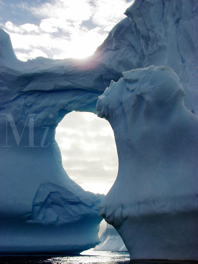 Iceberg lodged in the bottom of Maxwell Bay in 450 feet of water off King George Island, Antarctica.