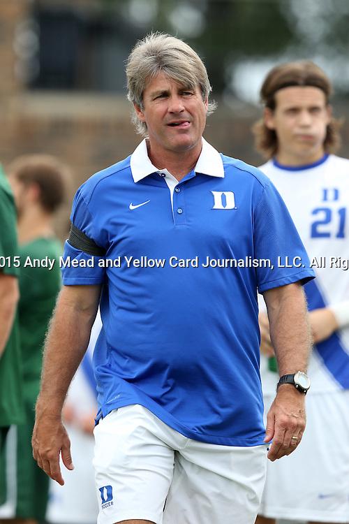 30 August 2015: Duke head coach John Kerr. The Duke University Blue Devils hosted the DePaul University Blue Demons at Koskinen Stadium in Durham, NC in a 2015 NCAA Division I Men's Soccer match.