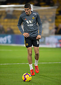 11th February 2019, Molineux, Wolverhampton, England; EPL Premier League football, Wolverhampton Wanderers versus Newcastle United; Conor Coady of Wolverhampton Wanderers warming up with the ball before the match