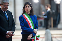 Rome, Italy, March 25,2017. Italian Prime Minister Paolo Gentiloni with Rome's Mayor Virginia Raggi during arrivals for an EU summit at the Palazzo dei Conservatori in Rome. EU leaders gather in Rome on Saturday to celebrate the 60th anniversary of the EU's founding treaty.