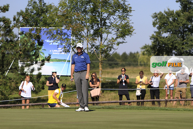 David Howell (ENG) on the 18th green during Round 2 of the D&amp;D Real Czech Masters 2016 at the Albatross Golf Club, Prague on Friday 19th August 2016.<br /> Picture:  Thos Caffrey / www.golffile.ie<br /> <br /> All photos usage must carry mandatory copyright credit   (&copy; Golffile | Thos Caffrey)