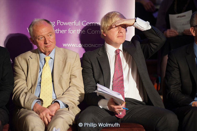 London Mayoral candidates Ken Livingstone and Boris Johnson.  London Citizens Mayoral Accountability Assembly, Central Hall, Westminster.