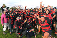 Waikanae players and supporters celebrate winning the Horowhenua-Kapiti premier club rugby final Ramsbottom Cup match between Paraparaumu and Waikanae at Levin Domain in Levin, New Zealand on Saturday, 22 July 2017. Photo: Dave Lintott / lintottphoto.co.nz