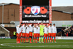 Sheffield United during a minutes silence during the English Football League One match at Proact Stadium, Chesterfield. Picture date: November 13th, 2016. Pic Jamie Tyerman/Sportimage