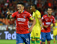 MEDELLÍN-COLOMBIA, 13-04-2019: Germán Ezequiel Cano, de Deportivo Independiente Medellín celebra el segundo gol anotado a Atlético Bucaramanga, durante partido de la fecha 15 entre Deportivo Independiente Medellín y Atlético Bucaramanga, por la Liga Águila I 2019, en el estadio Atanasio Girardot de la ciudad de Medellín. / German Ezequiel Cano, of Deportivo Independiente Medellin celebrates the second scored goal to Atletico Bucaramanga, during a match for the 15th date between Deportivo Independiente Medellin and Atletico Bucaramanga, for the Aguila Leguaje I 2019 at the Atanasio Girardot stadium in Medellin city. Photos: VizzorImage  / León Monsalve / Cont.