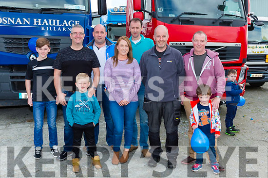 Evan, Diarmuid, RiaínBrosnan, Michael Moynihan, Aoife Bradley, Adain Scanlon, Mossie Mitchell, Fina and Martin McCarthy at the Eamon Carey Memorial Truck and Tractor run in aid of Pieta House in Castleisland on Sunday