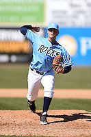 Wilmington Blue Rocks pitcher Matthew Murray (31) delivers a pitch during a game against the Myrtle Beach Pelicans on April 27, 2014 at Frawley Stadium in Wilmington, Delaware.  Myrtle Beach defeated Wilmington 5-2.  (Mike Janes/Four Seam Images)