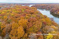 63895-16615 Aerial view Stephen A. Forbes State Park Lake in fall Marion Co. IL