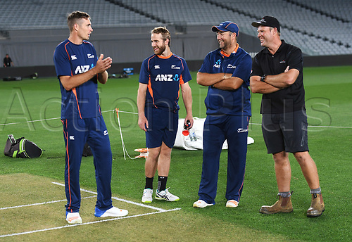 20th March 2018, Eden Park, Auckland, New Zealand;  Tim Southee, Kane Williamson, Craig McMillan and Eden Park's head groundsman Blair Christiansen.<br /> New Zealand Blackcaps twilight training session ahead of the 1st day/night test match against England