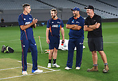 20th March 2018, Eden Park, Auckland, New Zealand;  Tim Southee, Kane Williamson, Craig McMillan and Eden Park's head groundsman Blair Christiansen.<br />