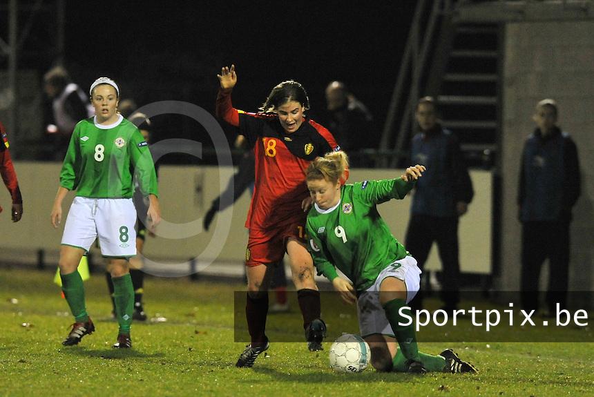 UEFA Women's Euro Qualifying group stage (Group 3) -  KFC Dessel - Armand Melis Stadion : BELGIUM -Northern Ireland ( Belgie - Noord Ierland ) : duel tussen Marlies Verbruggen en Rachel Furness..foto DAVID CATRY / Vrouwenteam.be / Loft6.be