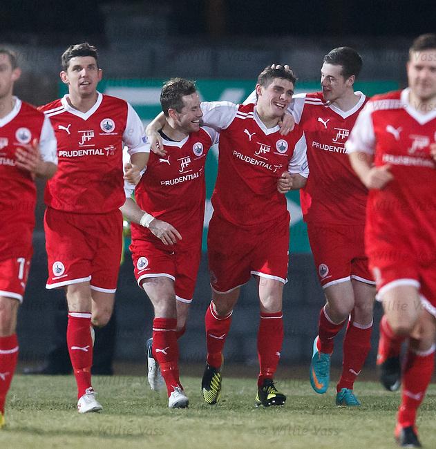 Ross Forsyth celebrates his goal for Stirling Albion