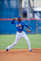 GCL Mets shortstop Ronny Mauricio (2) throws to first base during a game against the GCL Marlins on August 3, 2018 at St. Lucie Sports Complex in Port St. Lucie, Florida.  GCL Mets defeated GCL Marlins 3-2.  (Mike Janes/Four Seam Images)