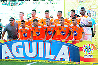 PALMIRA - COLOMBIA, 05-05-2019: Jugadores del Envigado posan para una foto previo al e partido entre Deportivo Cali y Envigado F.C. por la fecha 20 de la Liga Águila I 2019 jugado en el estadio Deportivo Cali de la ciudad de Palmira. / Players of Envigado pose to a photo prior Final second leg match as part Aguila League I 2019 between Deportivo Cali and Envigado F.C. played at Deportivo Cali stadium in Palmira city .  Photo: VizzorImage/ Nelson Rios / Cont