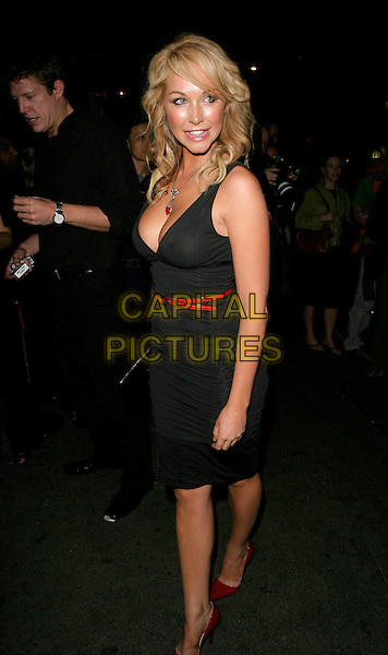 "EMILY SCOTT.""Click"" afterparty at Floridita, London, UK..September 27th, 2006.Ref: AH.full length black dress red belt plunging neckline cleavage.www.capitalpictures.com.sales@capitalpictures.com.©Adam Houghton/Capital Pictures."