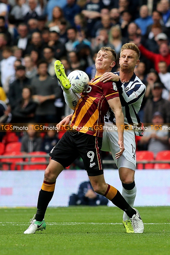 Bradford City's Charlie Wyke tries to control the ball under pressure from Byron Webster of Millwall during Bradford City vs Millwall, Sky Bet EFL League 1 Play-Off Final at Wembley Stadium on 20th May 2017
