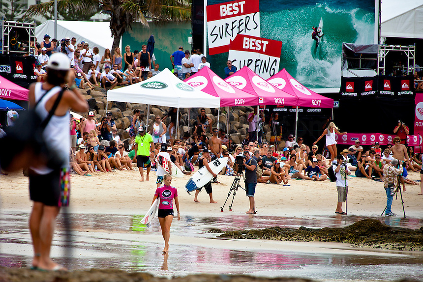 """SNAPPER ROCKS, Queensland/Australia (Saturday, March 5, 2011) -Stephanie Gilmore (AUS) won her Round 2 and Round 3 heats today. Competition in The Roxy Pro Gold Coast, the opening event of the 2011 ASP Women's World Title season, will recommenced today at 12:30pm...With building two-to-three foot (1 metre) waves on offer at the primary venue of Snapper Rocks, event organisers  completed the six heats of Round 2 and all of Round 3 today. World Champion Stephanie Gilmore (AUS) won both her Heats today..""""Conditions have cleaned up and we're seeing the first signs of swell this afternoon so we've called Round 2 of the women's competition on at 12:30pm,"""" Rich Porta, ASP International Head Judge, said. """"We're expecting conditions to improve throughout the afternoon with the possibility of running Round 3 as well.""""..Up first this morning will be Rebecca Woods (AUS), 26, battling rookie Courtney Conlogue (AUS), 18, in the opening women's heat of Round 2...Photo: joliphotos.com"""