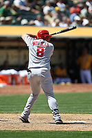 OAKLAND, CA - MAY 23:  Kendrys Morales #8 of the Los Angeles Angels bats against the Oakland Athletics during the game at the Oakland Coliseum on Wednesday May 23, 2012 in Oakland, California. Photo by Brad Mangin