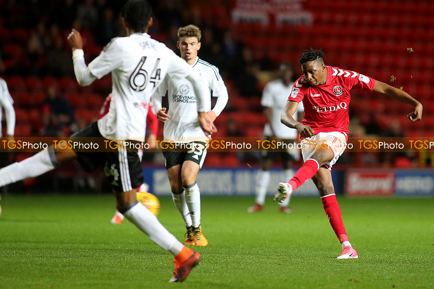 Joe Aribo of Charlton Athletic takes a shot at the Fulham goal during Charlton Athletic vs Fulham Under-21, Checkatrade Trophy Football at The Valley on 1st November 2017