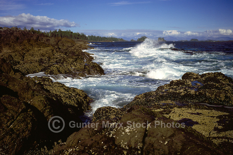 Waves crashing against the Rugged Coastline near Ucluelet, on the West Coast of Vancouver Island, British Columbia, Canada