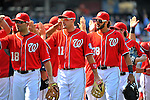 10 July 2011: The Washington Nationals celebrate a win over the Colorado Rockies at Nationals Park in Washington, District of Columbia. The Nationals shut out the visiting Rockies 2-0 salvaging the last game their 3-game series at home prior to the All-Star break. Mandatory Credit: Ed Wolfstein Photo